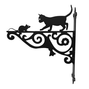 Cat & Mouse Ornamental Bracket Cats Hanging Basket Cat and Mouse
