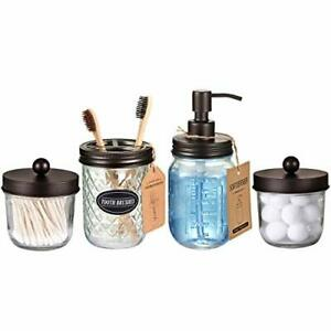 Mason Jar Bathroom Accessories (4 Pack) Decorative Qtip Holder Toothbrush New