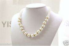 Classic White Pearl Gold crystal bead Necklace chain extension   FREE Gift Bag