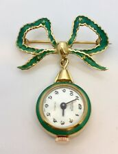 Antique 18k Guilloche Enamel Swiss Lapel Watch By Monvis