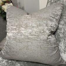 "Luxury Cushion Cover 18"" Designer Fabric Crackle Effect Grey Decor"