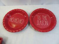 RAE DUNN Holiday Christmas HO HO HO Tis The Season Red Pie Plates
