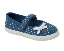 GIRLS BLUE CANVAS POLKA DOT TOUCH FASTEN PUMPS TRAINERS SHOES KIDS UK SIZE 4-12