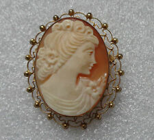 fine old gold plated carved shell cameo pin pendant