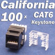 100 Pcs lot Keystone Jack CAT6 Black Network Ethernet 110 Punch Down 8P8C RJ45