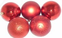5 X 100mm Extra Large Shatterproof Assorted Colour and Style Baubles (P34-36)