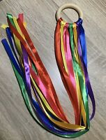 Baby Shower Gift Handmade Sensory ribbon ring Rainbow Colours SEN Toy