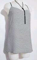 NWT Express Women's Top Size L Sleeveless black and White blouse lace Stripe