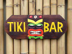 TIKI BAR SIGN Wooden Wall Plaque 50cm Hand Painted.....