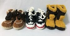 Hand Knitted Baby Boy Booties Tennis Shoes Cowboy Boots Work Shoes Vintage 1981