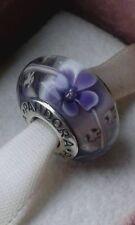 Pandora Murano Glass charm Purple Flowers bead stamped Silver s925 Ale New,