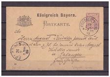 Bayern, Ganzsache P 34 / 05 Friedberg nach Erlangen 23.12.1889