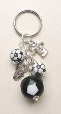 FOOTBALL KEYRING Black and White Bead Silver Ball Boot and Shirt  KCJ1771