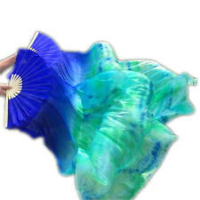 New Arrival Tie-dyed Belly Dance Fan Veils for Women long 100% real silk fans