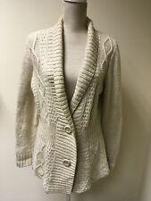Women Cardigan Warm Cream Chunky Knit Size 16 (25)