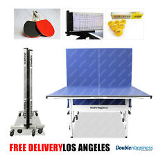 "Double Happiness 5/8"" Table Tennis Ping Pong Table w/ Upgraded Accessories Pack"