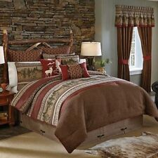 CROSCILL Oakwood KING COMFORTER SET NWT 7pc PILLOW EUROS DEER RUSTIC LODGE CABIN