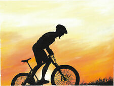 original painting A3 131ZhT art samovar modern oil cyclist at sunset Signed 2021