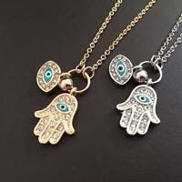 Jewelry Charm Pendant Necklace Evil Eye Fatima Hand Hamsa Gold/Silver Plated