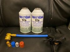 2 cans 12a Refrigerant 2 cans R12 replacement WITH HOSE, TAP + ADAPTERS HIGH LOW