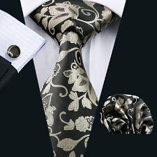 Seide Krawatte Set Taschentuch Manschettenknöpfe Jacquard Woven Floral TieN-1112