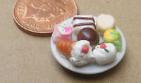 1:12 - 7 Assorted Cakes On A Ceramic Plate Dolls House Miniature Food Accessory