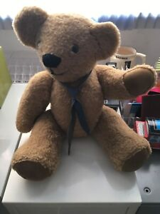 """Vintage Jointed Teddy Bear Leather Tie & Paw Pads Hand Made By Jeanne G 18"""""""