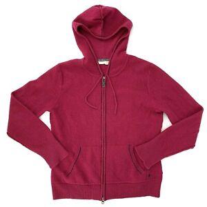 Smartwool Merino Wool Womens Medium Full Zip Sweater Hoodie Jacket Pink Pockets