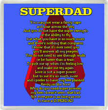 Superdad Poem Drinks Coaster Ideal Birthday Father's Day Gift Z68