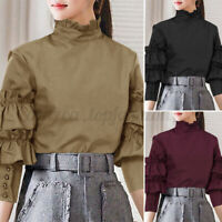 Women's Gothic Victorian Ruffle Collar Shirts Puff Sleeve OL Party Tops Shirt US