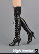 """NEW 1:6 Scale Female High Heels Boots Black Tie Shoes For 12"""" Figure Action Body"""