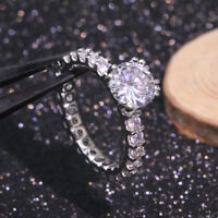 8mm Round Cut Engagement AAA Cz Wedding Rings Women's 925 Silver Ring Size 5-10