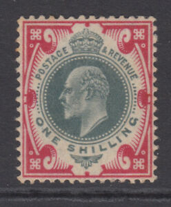 SG 257 1/- Dull Green & Carmine M45 (1) in very lightly mounted mint condition .