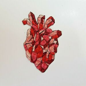 Stone Anatomical Red Heart Handmade Sew-On Embroidered Patch