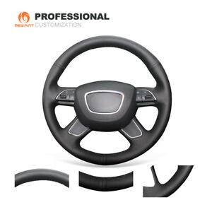 Top Black Genuine Leather Car Steering Wheel Cover for Audi A4 B8 A6 C7 A7 A8 L