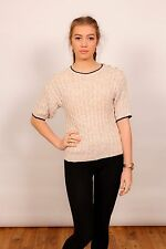 Vintage ladies stone & white short sleeve cable knit jumper by Robert Scott Ltd