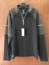 Men's Jockey Long Sleeve 1/2 Zip Pullover Jacket Large Black Gray 021103 NWT
