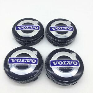 New Volvo Wheel Center Hub Caps Rim cap Black Blue Emblem 64mm 4pcs/set