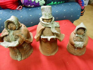 Great Handcraved CLAY Set of 3 Figures...Signed URSULA...FREE POSGTAGE USA