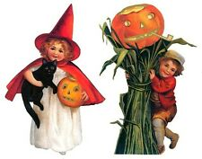 Vintage Style Halloween Boy With Pumpkin and Girl Witch With Black Cat Garland