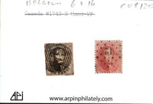 Middlesex Stamp, Early BELGIUM STAMPS SC #6 & 16, Used.  Cat. Value of $125. c14