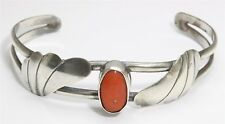 Vintage Navajo Sterling Silver Small Old Pawn Red Coral Floral Cuff Bracelet
