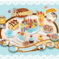 75Pcs Plastic Kitchen Cutting Toy Birthday Cake Pretend Play Food Set Kids Gift