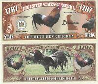 Delaware Blue Hen Chicken Dollar Bill Play Funny Money Novelty Note +FREE SLEEVE