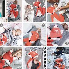 Baby Soft Crochet Blanket Toddler Bedding Fox Knitted Blanket Swaddling Wrap