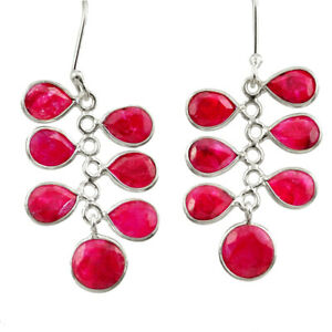 14.81cts Natural Red Ruby 925 Sterling Silver Chandelier Earrings Jewelry D39843