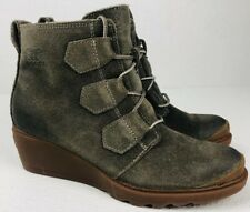 SOREL Toronto Lace Major Boot Waterproof Oiled Suede Wedge Olive Green Size 6.5
