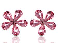 Rose Fuchsia Fun Girly Chic Five Petal Daisy Crystal Element Earrings New