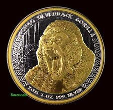 New listing 1oz 2015 .999 Silver Congo Silverback Gorilla Gilded Coin 5000 Francs 24K Gold
