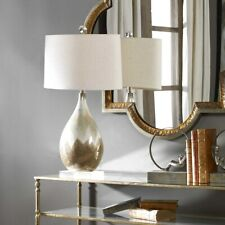 FLAVIAN 31' METALLIC RUST BEIGE GLAZE TABLE LAMP CRYSTAL ACCENTS LIGHT UTTERMOST